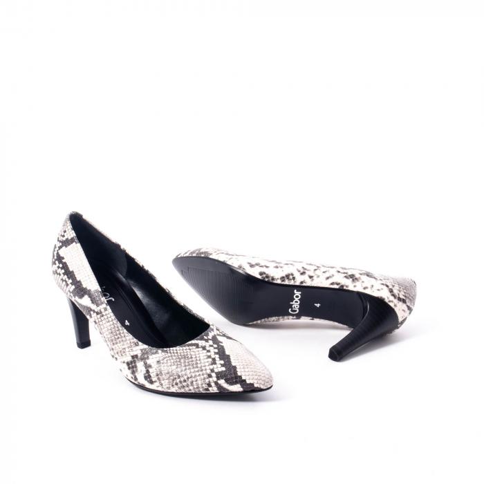 Pantofi eleganti dama piele naturala Gabor 3138030, python grau 3