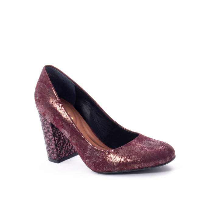 Pantofi eleganti dama, piele naturala, Epica 9766 bordo nubuc 0