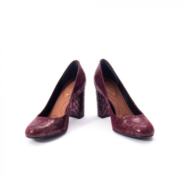 Pantofi eleganti dama, piele naturala, Epica 9766 bordo nubuc 4