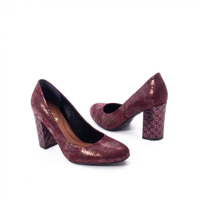 Pantofi eleganti dama, piele naturala, Epica 9766 bordo nubuc 5