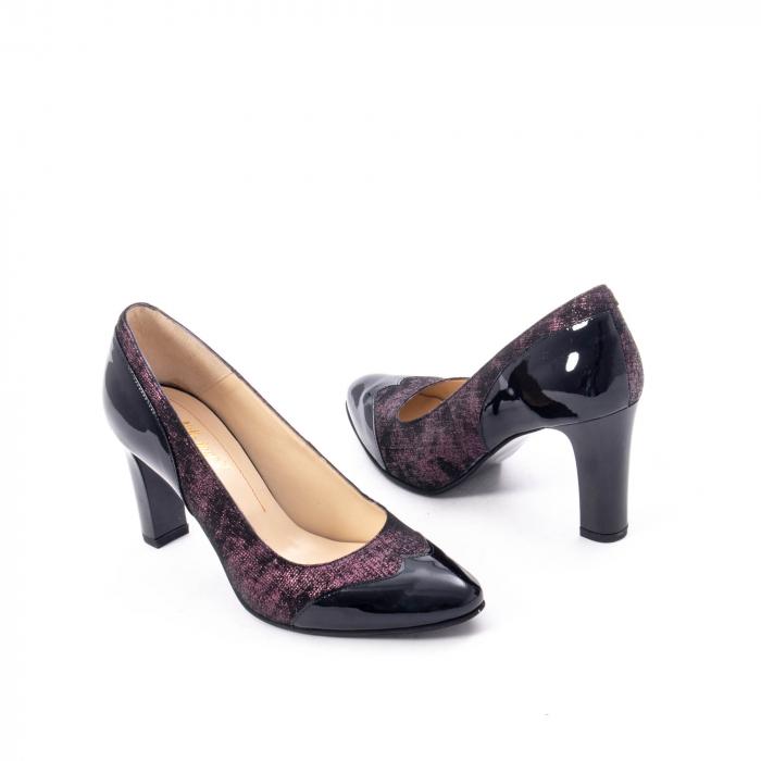 Pantofi eleganti dama, piele naturala, Nike Invest, 265 NL, negru-grena 2