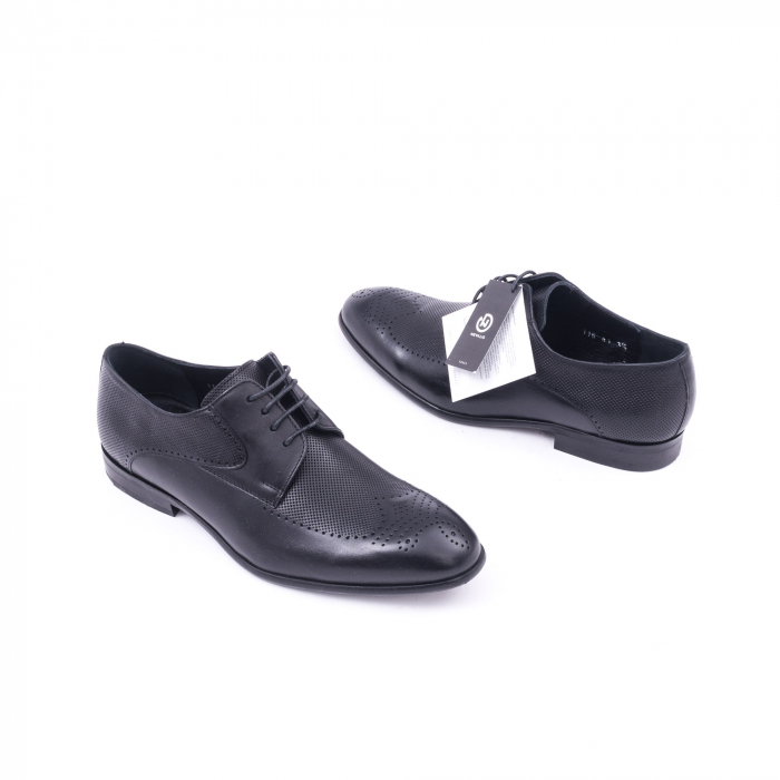 Pantofi barbati eleganti piele naturala Nevalis 116, negru 2