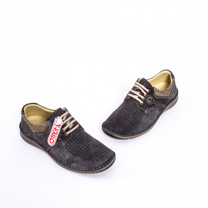 Pantofi vara barbati piele naturala nabuc Otter 9560 42-I gri inchis 1