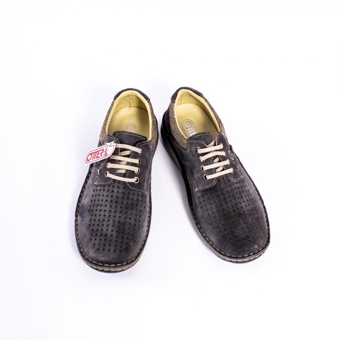 Pantofi vara barbati piele naturala nabuc Otter 9560 42-I gri inchis 5