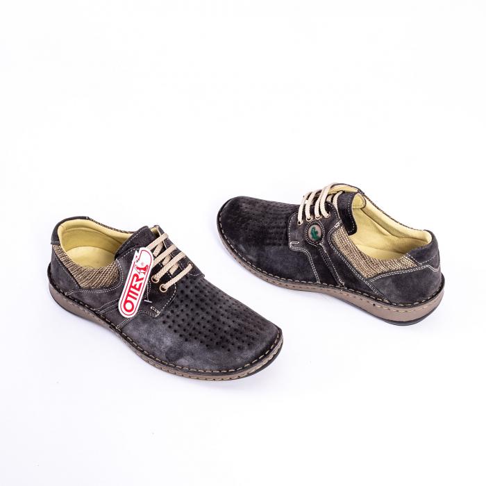 Pantofi vara barbati piele naturala nabuc Otter 9560 42-I gri inchis 2