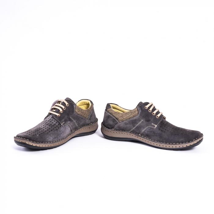 Pantofi vara barbati piele naturala nabuc Otter 9560 42-I gri inchis 4