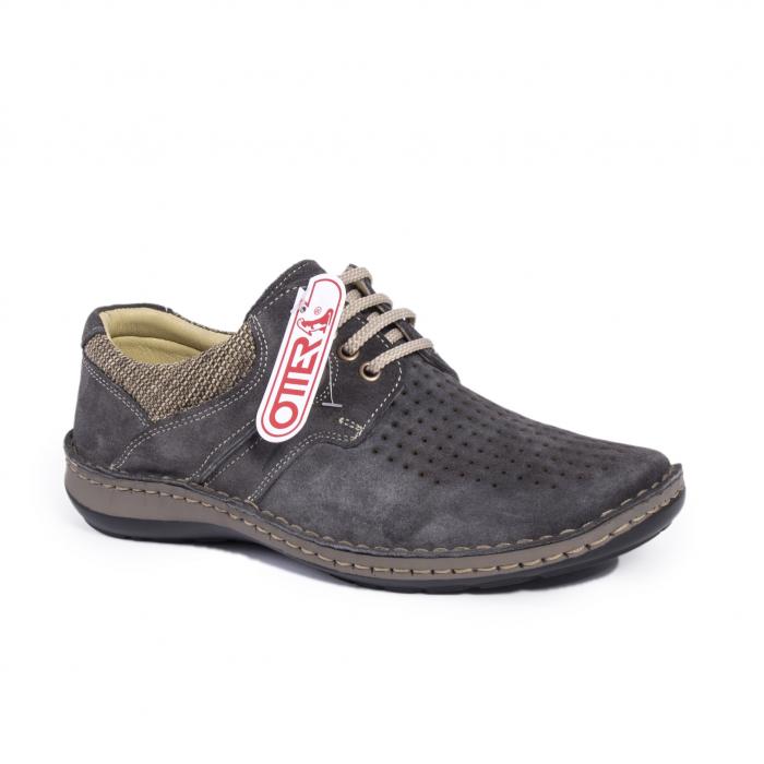 Pantofi vara barbati piele naturala nabuc Otter 9560 42-I gri inchis 0