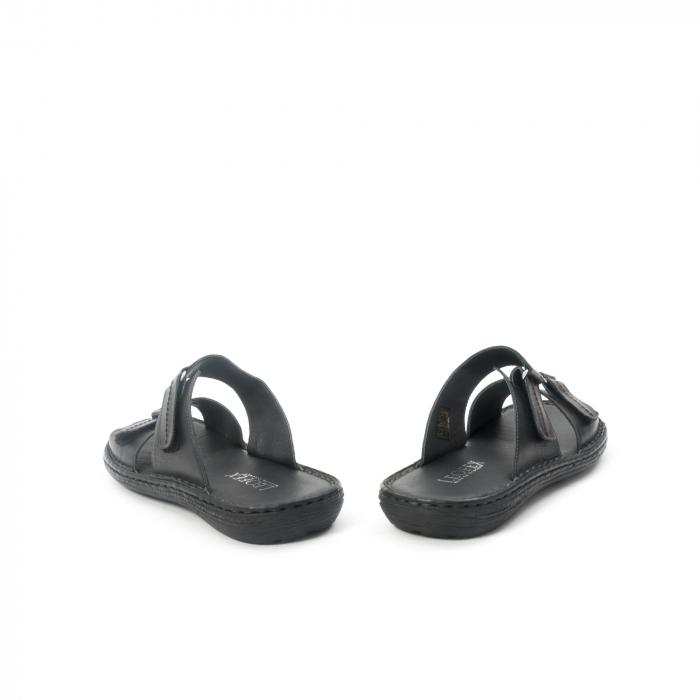 Papuci de  barbat din piele naturala ,culoare negru LEOFEX  531 6