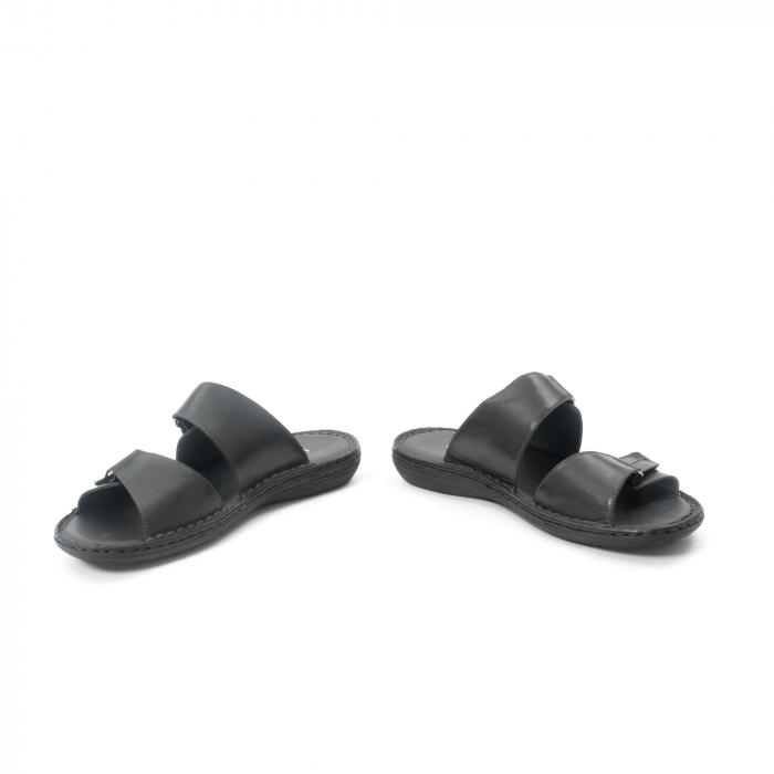 Papuci de  barbat din piele naturala ,culoare negru LEOFEX  531 4