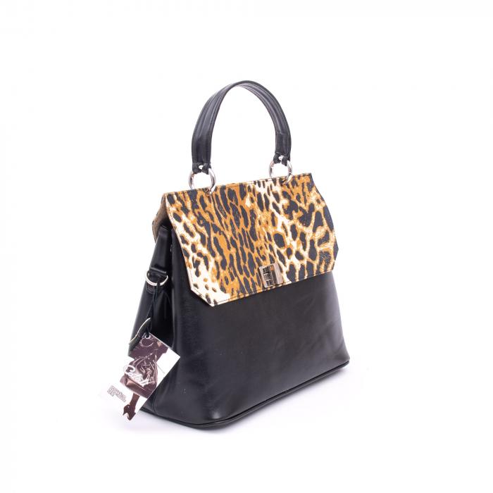 Poseta din piele naturala Catali 280 negru-animal print.