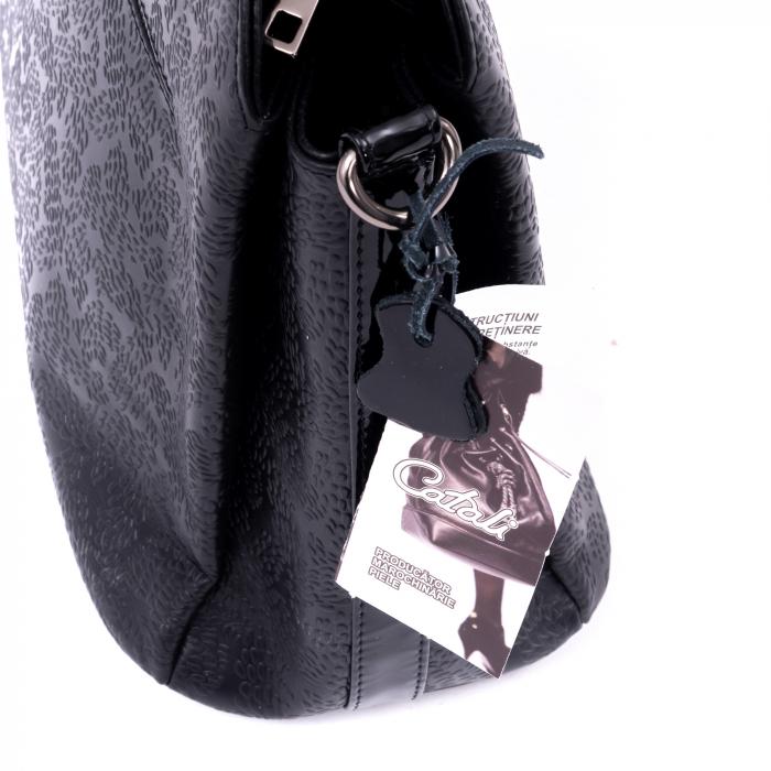 Poseta din piele naturala Catali 315 negru