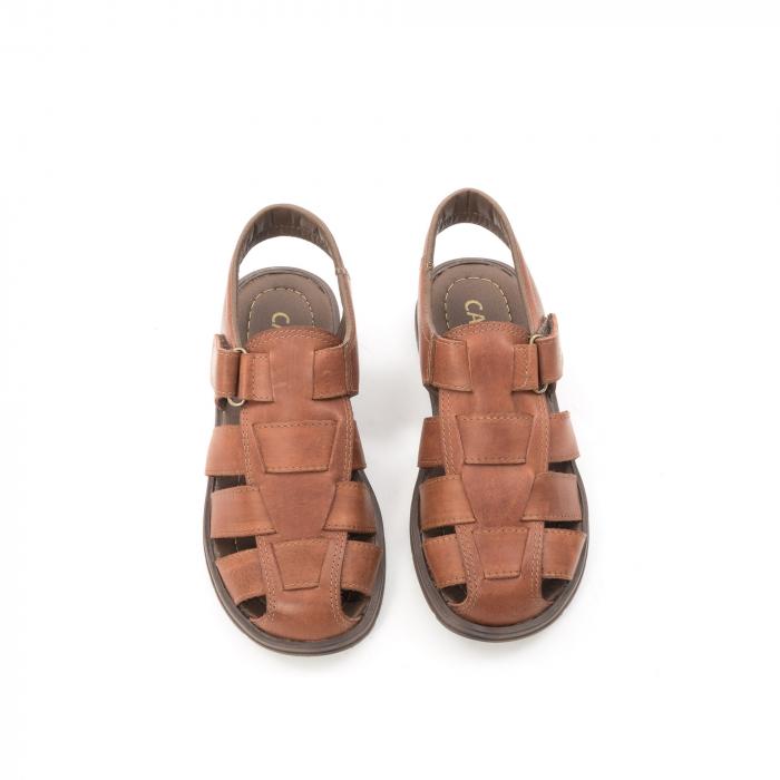 Sandale barbati piele naturala, Caribu QP218, maro