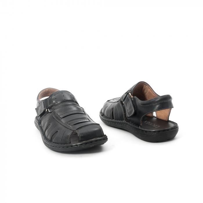 Sandale  barbat  din piele naturala ,culoare negru ,Leofex 929 . 2