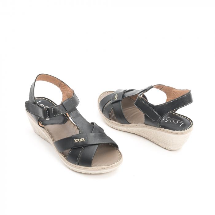 Sandale dama casual din piele naturala ,Leofex 214 negru 3