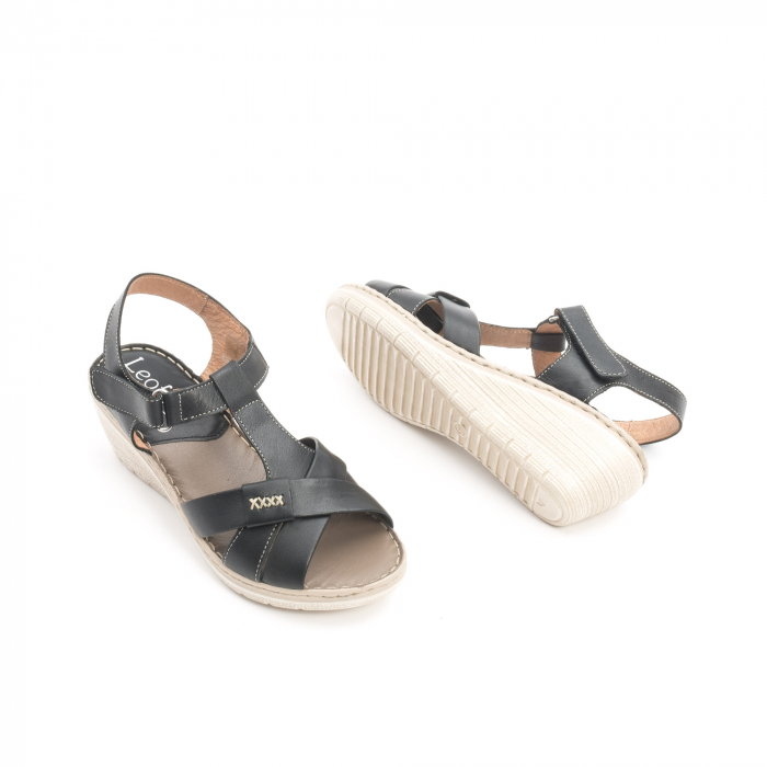 Sandale dama casual din piele naturala ,Leofex 214 negru 2