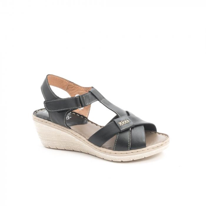 Sandale dama casual din piele naturala ,Leofex 214 negru 0