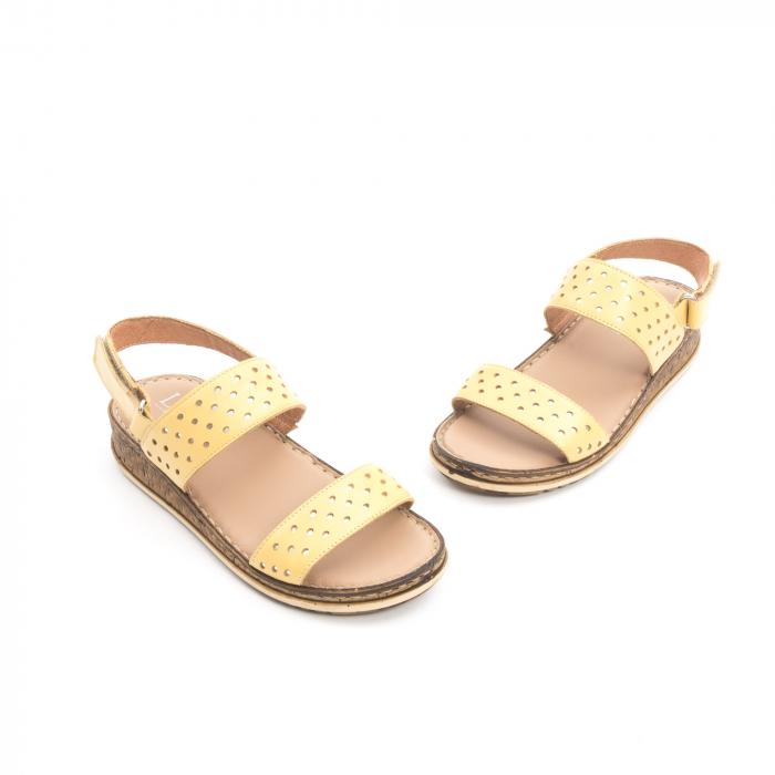 Sandale dama casual , piele naturala, Leofex 212 galben 1