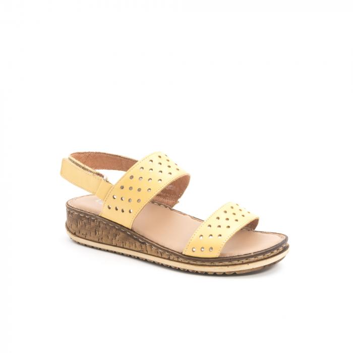 Sandale dama casual , piele naturala, Leofex 212 galben 0