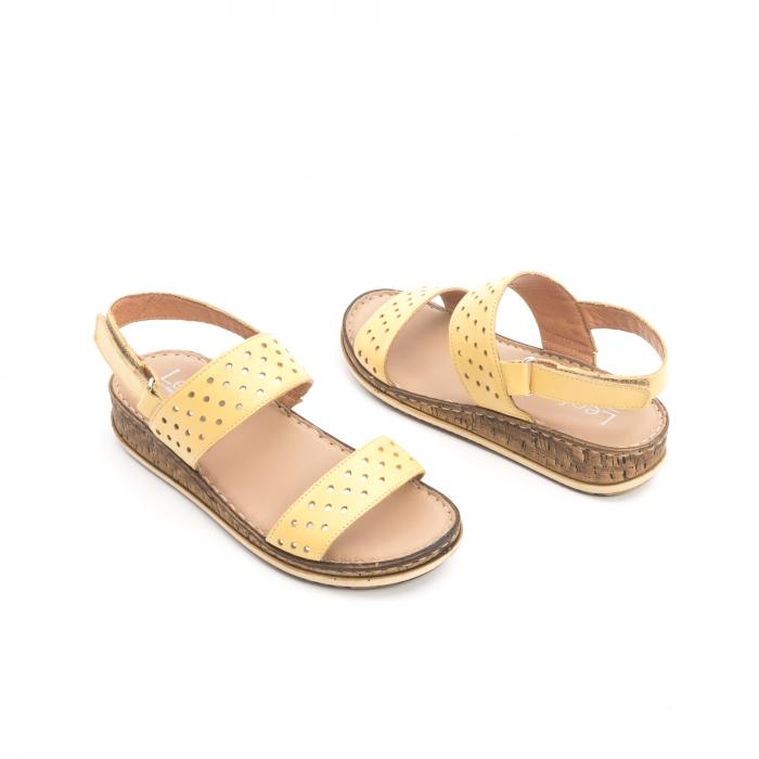 Sandale dama casual , piele naturala, Leofex 212 galben 3