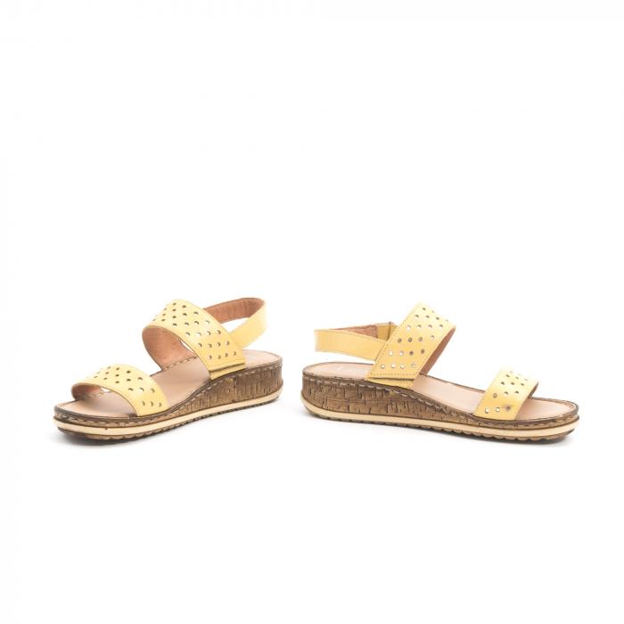 Sandale dama casual , piele naturala, Leofex 212 galben 4