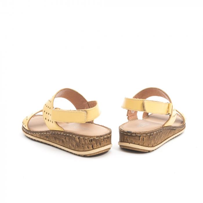 Sandale dama casual , piele naturala, Leofex 212 galben 5