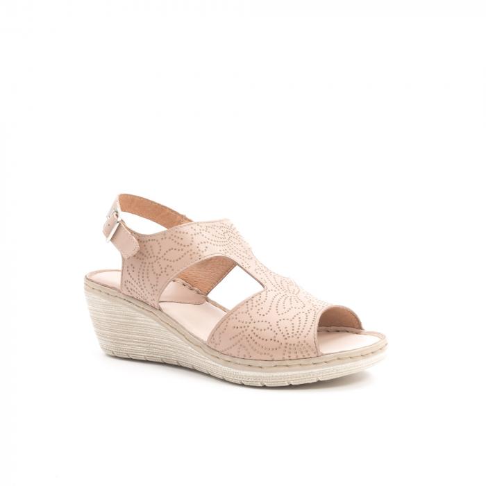 Sandale dama casual din piele naturala,Leofex  218 taupe 0
