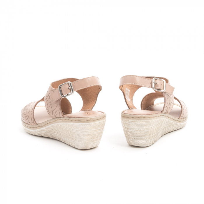 Sandale dama casual din piele naturala,Leofex  218 taupe 6