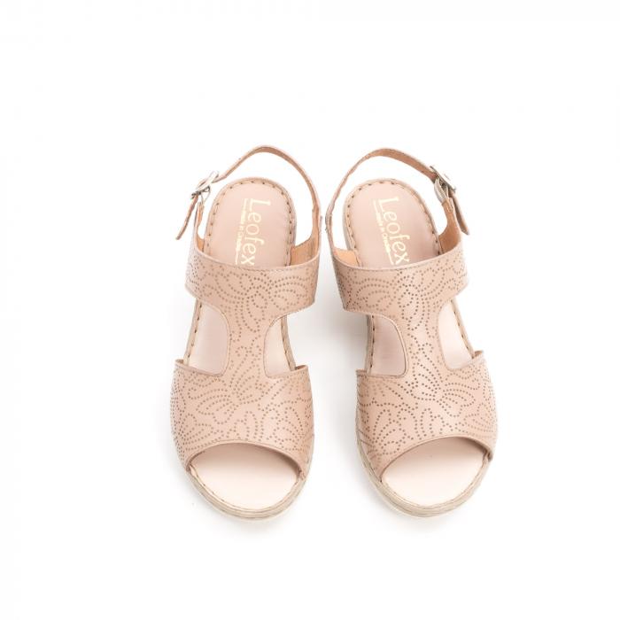 Sandale dama casual din piele naturala,Leofex  218 taupe 5
