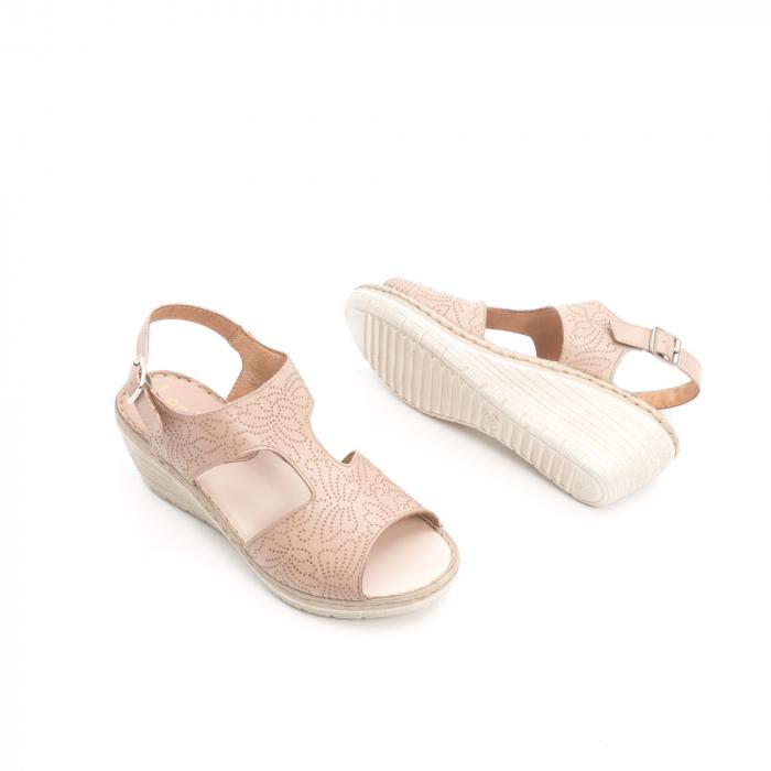 Sandale dama casual din piele naturala,Leofex  218 taupe 2