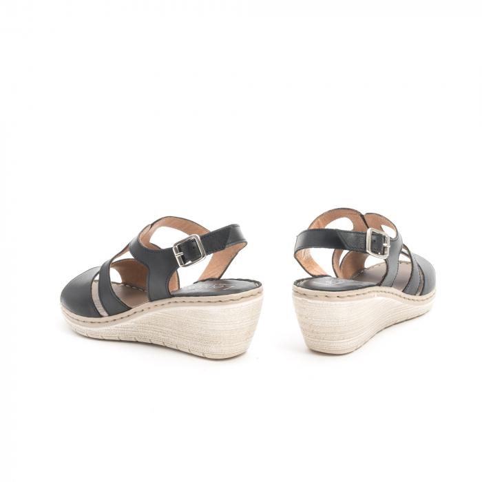 Sandale dama  casual  din piele naturala Leofex 232 negru 6