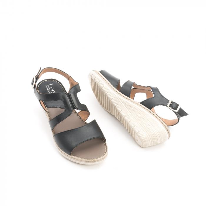 Sandale dama  casual  din piele naturala Leofex 232 negru 3