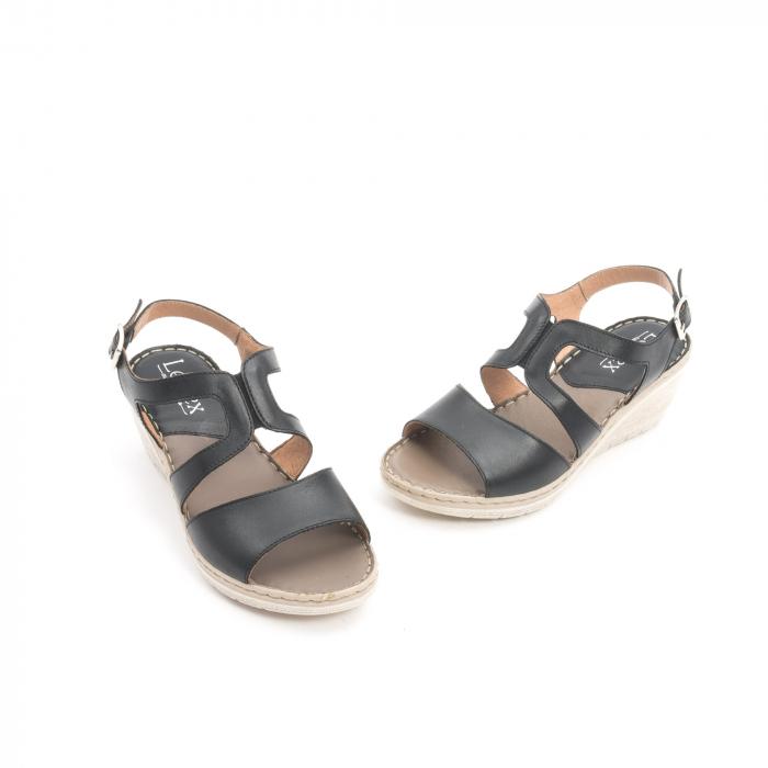 Sandale dama  casual  din piele naturala Leofex 232 negru 1