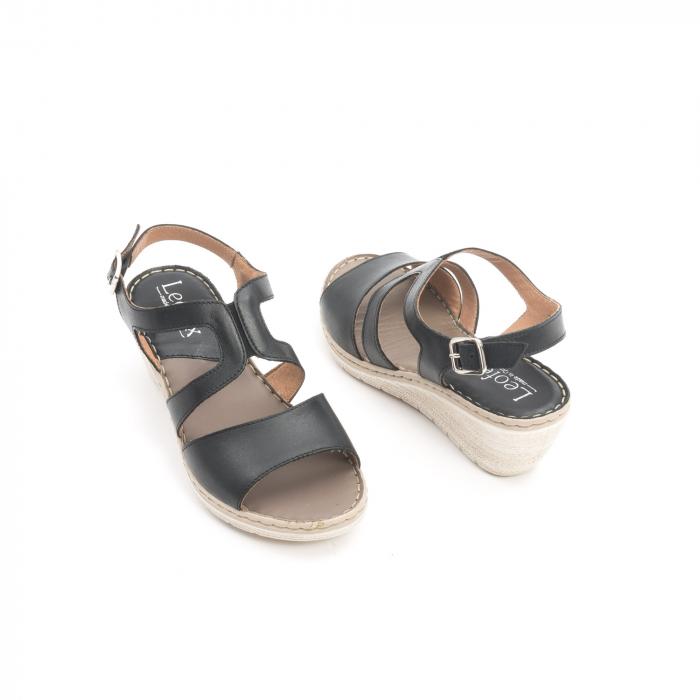 Sandale dama  casual  din piele naturala Leofex 232 negru 2