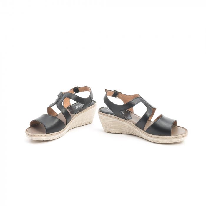 Sandale dama  casual  din piele naturala Leofex 232 negru 4