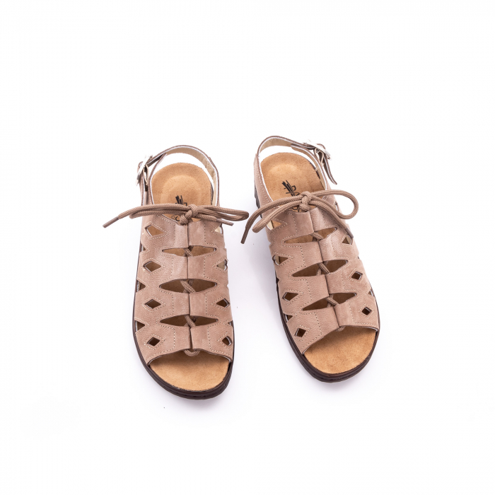 Sandale dama casual piele naturala nabuc Pass 450 03-2, bej 5