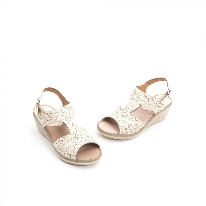 Sandale dama casual din piele naturala,Leofex 218 bej