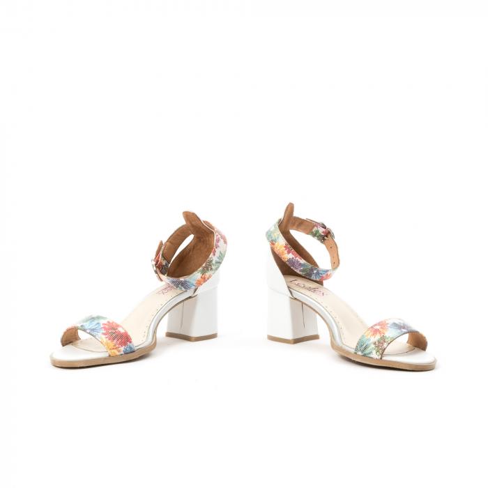 Sandale dama elegante piele naturala Leofex 128, alb-floral 4