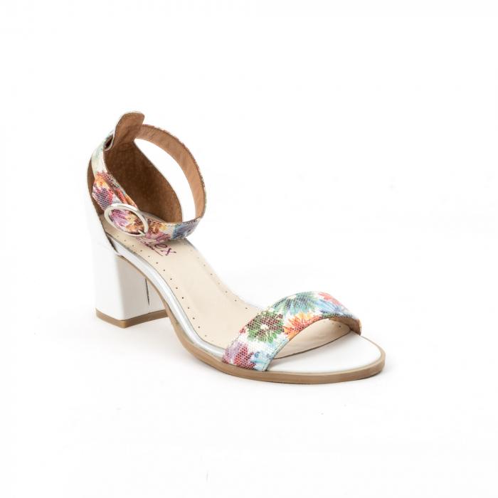 Sandale dama elegante piele naturala Leofex 128, alb-floral 0
