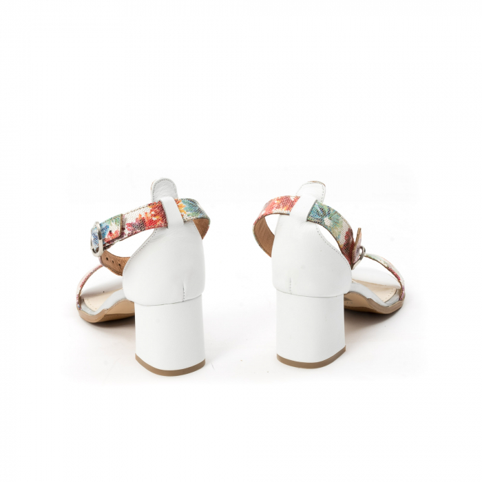 Sandale dama elegante piele naturala Leofex 128, alb-floral 6