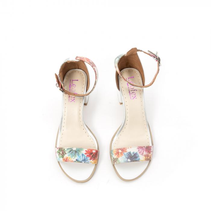 Sandale dama elegante piele naturala Leofex 128, alb-floral 5