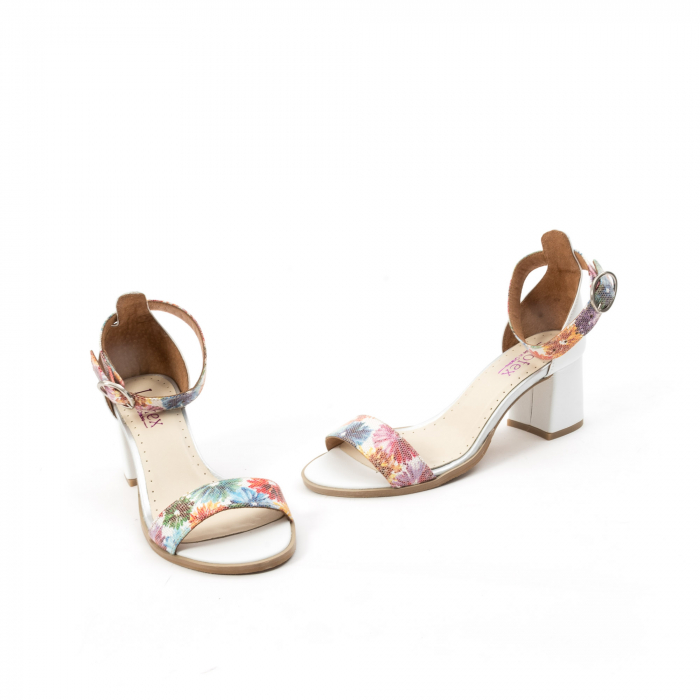 Sandale dama elegante piele naturala Leofex 128, alb-floral 1