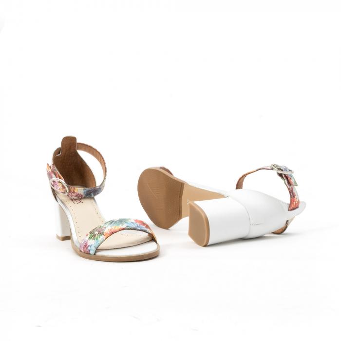 Sandale dama elegante piele naturala Leofex 128, alb-floral 3