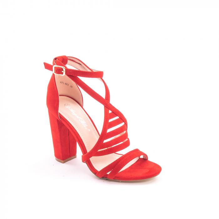Sandale dama elegante piele ecologica Angel Blue 663, rosu 0