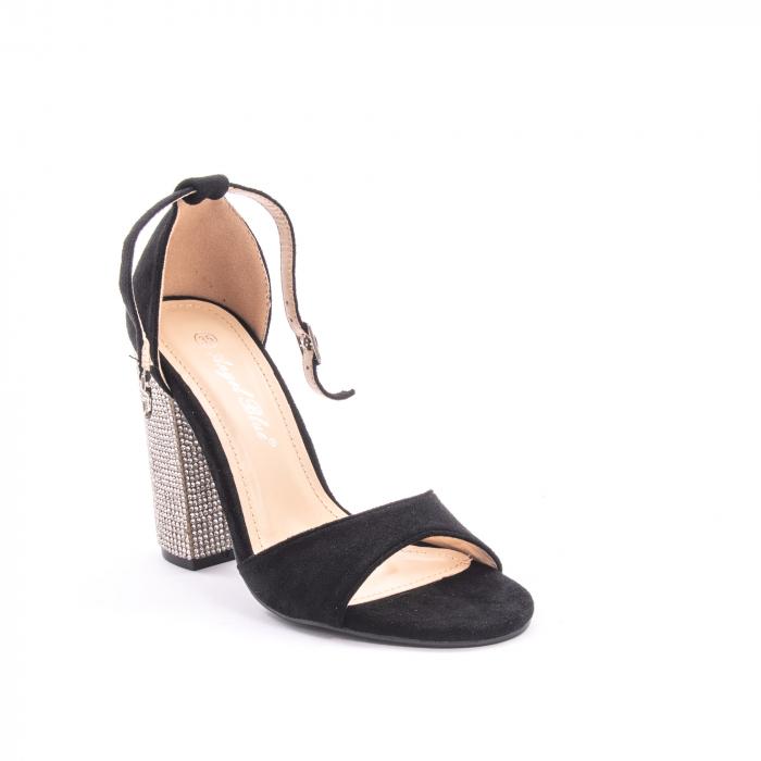 Sandale dama elegante Angel Blue 650, piele eco, negru 0