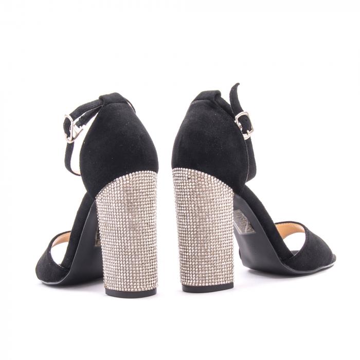 Sandale dama elegante Angel Blue 650, piele eco, negru 4