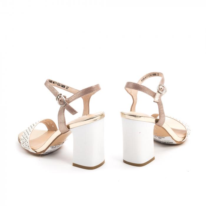 Sandale dama elegante, din piele naturala, marca Karisma, model JZ81689-M17-C56, cu toc de 8 cm, culoare alb-auriu