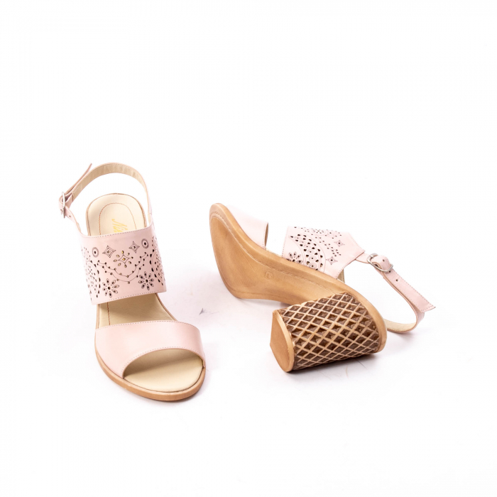 Sandale dama elegante, piele naturala, Nike Invest nk1094 B, nude 2