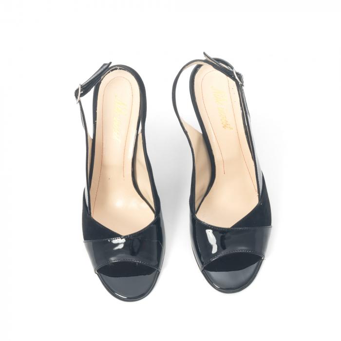 Sandale dama elegante piele naturala, Nike Invest 774 nlb, negru 5