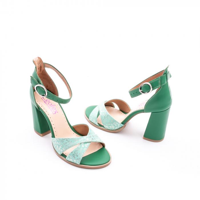 Sandale dama elegante piele naturala, Leofex 148, verde 2