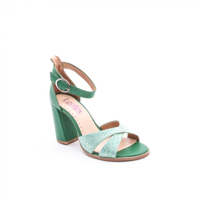 Sandale dama elegante piele naturala, Leofex 148, verde 0